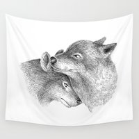 wolves Wall Tapestries featuring WOLVES by Thiago Bianchini