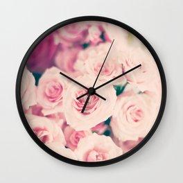 Pastel pink roses Wall Clock