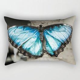 Black And White Blue Morph Butterfly Rectangular Pillow
