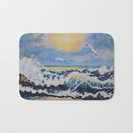 Impressionism Ocean Waves With Seagulls, Beach House Art and home decor Bath Mat