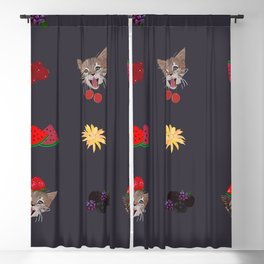 Cute Cats and Fruity Pattern Blackout Curtain