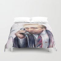 nicolas cage Duvet Covers featuring Nicolas Cage by Olechka