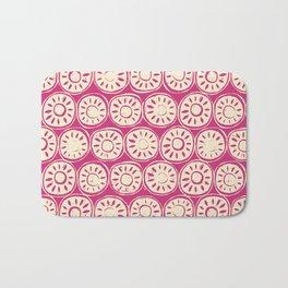 flower block ivory pink Bath Mat