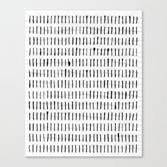 Black Ink Woodstock Pattern on White Canvas Print
