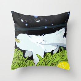chasing apple spores Throw Pillow
