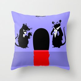 Banksy Two Rats with Mouse Hole Throw Pillow