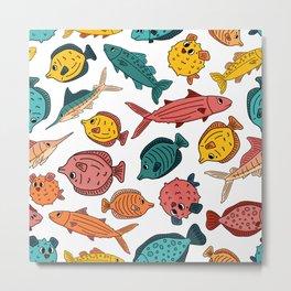 Random colorful fish world Metal Print