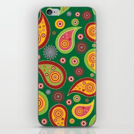 Oriental Persian Paisley - Green Yellow Red iPhone Skin