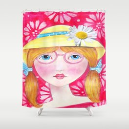 Whimiscal Girl with Yellow Hat  Shower Curtain