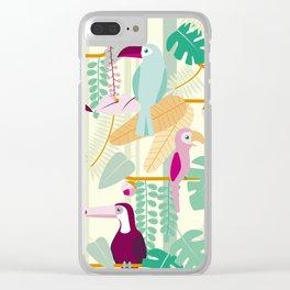 Rainforest birds Clear iPhone Case