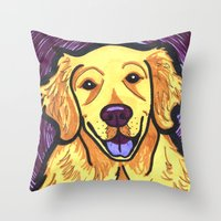 golden retriever Throw Pillows featuring Golden Retriever by Gianna Brucato