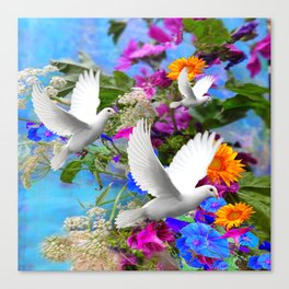 White Doves in Blue & Purple Garden Canvas Print