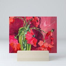 Red Poppies in Green Vase Mini Art Print