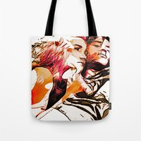 eternal sunshine Tote Bags featuring eternal sunshine of the spotless mind by Paola Rassu