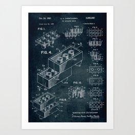 1958 Toy Building Brick patent art Art Print