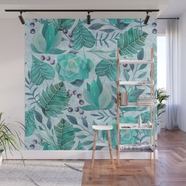 Green greenery watercolor tropical leaf pattern Wall Mural