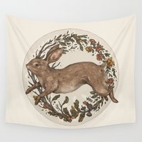 rabbit Wall Tapestries featuring Rabbit by Jessica Roux