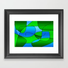 ABSTRACT CURVES #1 (Greens & Light Blues) Framed Art Print
