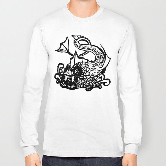 Demon Fish Wood Block Print Long Sleeve T-shirt by chaparralia