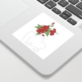 Minimal Line Art Woman with Hibiscus Sticker