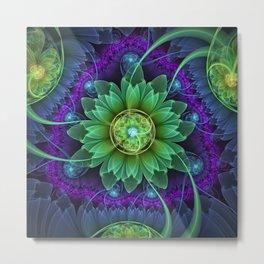 Blue and Green Pandoran Snap Lotus Fractal Flower Metal Print