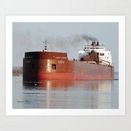 James R Barker Freighter Art Print