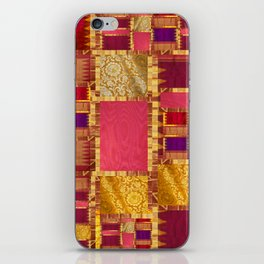 """Exotic fabric, ethnic and bohemian style, patches"" iPhone Skin"