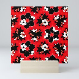 red pink black and white floral spring pattern Mini Art Print