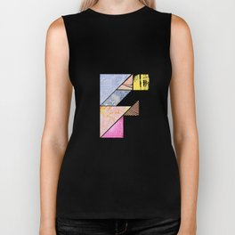 Collaged Tangram Alphabet - F Biker Tank