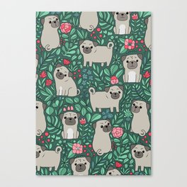 Pugs and summer flowers Canvas Print