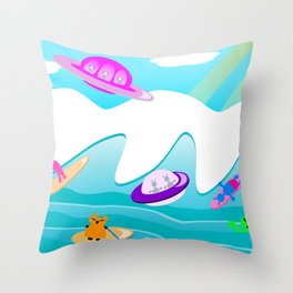 Aliens Go Surfing Throw Pillow