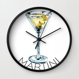 Martini in Water Color  Wall Clock
