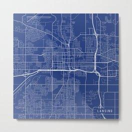 Lansing Map, USA - Blue Metal Print