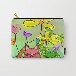 Whimsical Cats and Flowers III Carry-All Pouch