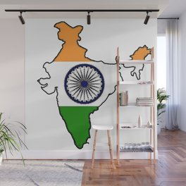 India Map with Indian Flag Wall Mural