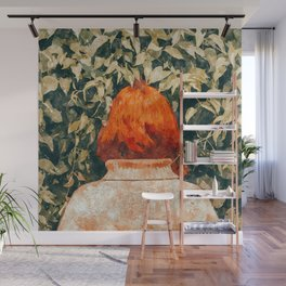 Surprise Visit, Quirky Whimsical Painting, Fashion Travel Red Head Ginger Woman Illustration Wall Mural