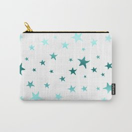 Blue Green Stars Carry-All Pouch