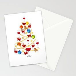 Wine Christmas Tree Alcohol Christmas Gift Stationery Cards