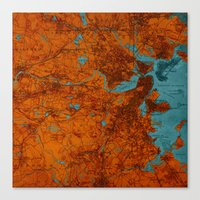 vintage map Canvas Prints featuring Vintage map by Larsson Stevensem