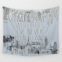 cities Wall Tapestries featuring I'm in love with cities. by Sara Eshak