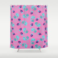 dolphins Shower Curtains featuring dolphins by lindseyclare