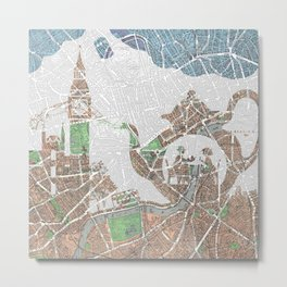 4 o'clock tea London Map Metal Print