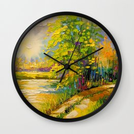 At sunset by the river Wall Clock