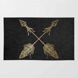 Gold Arrows on Black Rug