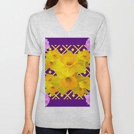 Wild Roses Gold Daffodil Purple Pattern Unisex V-Neck