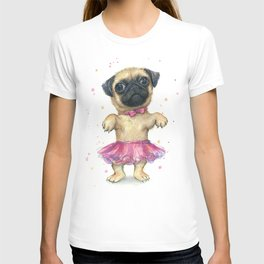 Cute Pug Puppy Dog Watercolor Painting T-shirt