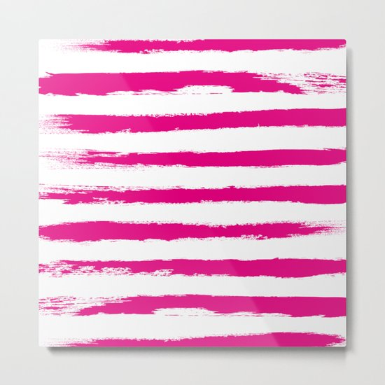 Pretty Pink STRIPES Handpainted Brushstrokes Metal Print