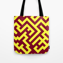 Electric Yellow and Burgundy Red Diagonal Labyrinth Tote Bag