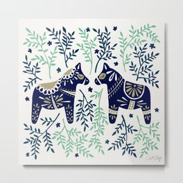 Swedish Dala Horse – Navy & Mint Palette Metal Print