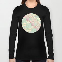Yellow, Pink & Green Squared Patchwork Pattern Long Sleeve T-shirt